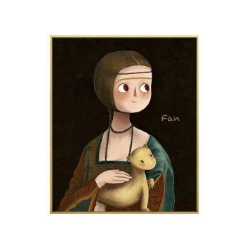 玖福世界名画卡通版儿童房挂画戴珍珠耳环的少女卧室壁画ins装饰画 b