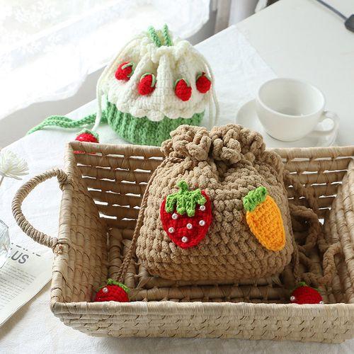 手工编织包包草莓蛋糕鸭子屁股材料包个性自制手编毛线diy送女友