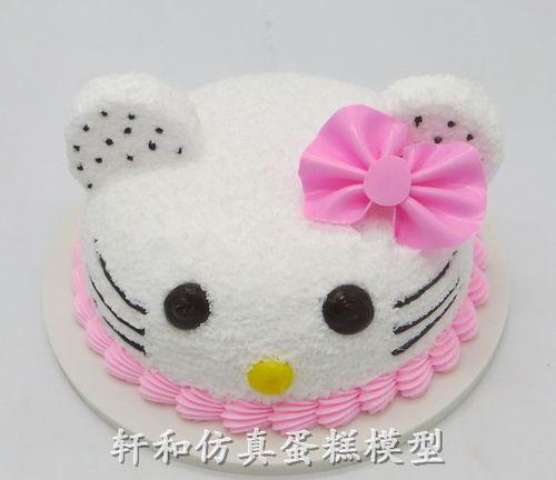 轩和蛋糕模型 可爱kt猫咪头像儿童生日仿真蛋糕模型 卡通蛋糕摆件