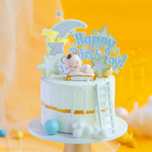 烘焙蛋糕装饰百天满月1周岁睡梦宝宝树脂玩偶摆件生日