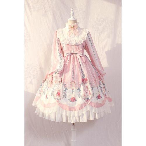 【全款】洛丽塔裙子 lolita笼中梦柄蝴蝶结绑带蕾丝op