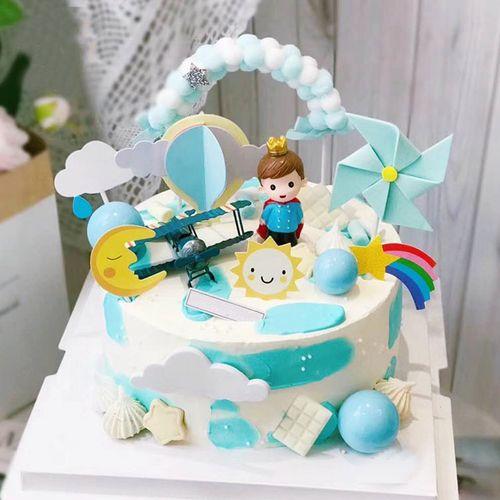 烘焙蛋糕装饰小王子男孩摆件宝宝满月周岁儿童生日派对甜品台插件