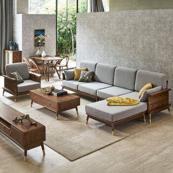 蔚虎 沙发 白蜡木全实木沙发布艺沙发可拆洗轻奢沙发大小户型现代简约