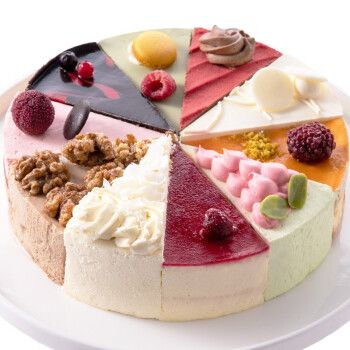 麦巧园 动物奶油十拼慕斯蛋糕1000g十全十美生日蛋糕网红甜品冷冻蛋糕