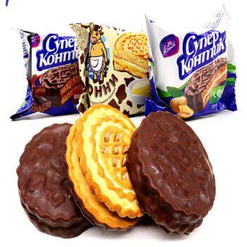 俄罗斯夹心花生榛子味巧克力康吉三明治饼干零食品 三种味(混合)共10
