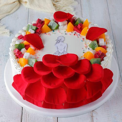美女背影水果蛋糕模型仿真2021新款欧式水果生日蛋糕