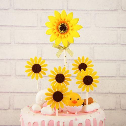 向日葵生日蛋糕装饰插牌 蝴蝶结向日葵花朵插旗 派对