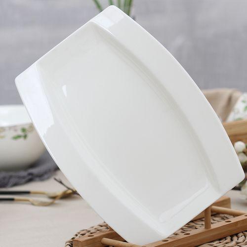 纯白鱼盘子家用骨瓷创意欧式陶瓷鱼碟式鱼盘大号长方形日碟子和风