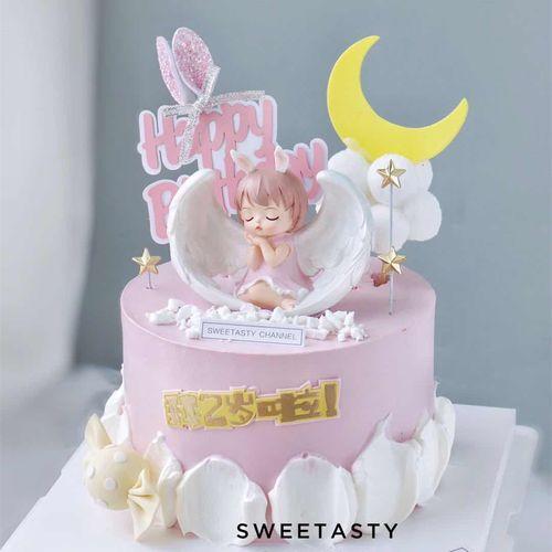 烘焙蛋糕装饰创意卡通可爱安妮天使蛋糕摆件金色五角星网红插牌