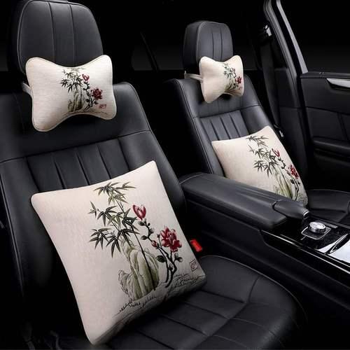 高档汽车抱枕车内靠垫枕头四件套欧式个性车用一对米