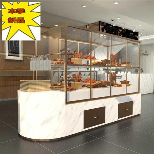 面包展示中岛柜西点蛋糕柜模型柜子商用弧形玻璃镀钛