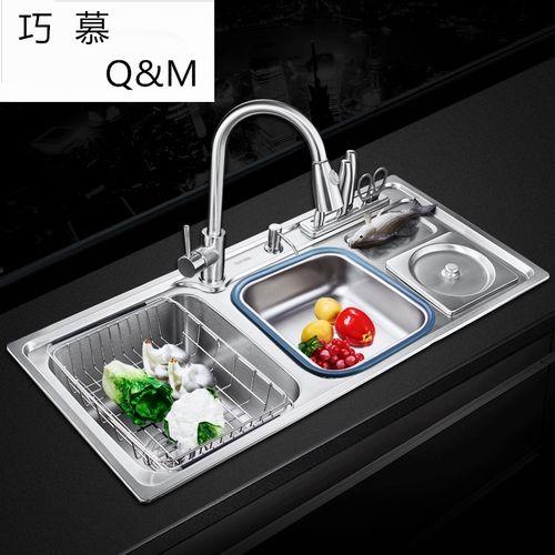 304不锈钢纳米厨房洗菜盆三槽加厚多功能带垃圾桶水槽